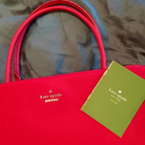 KATE SPADE Classic Nylon & Leather Garnet Red Bag